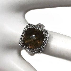 Smoky Quartz 14k White Gold Ring with Diamonds